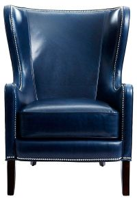 Dempsey Leather Wing Chair, Navy