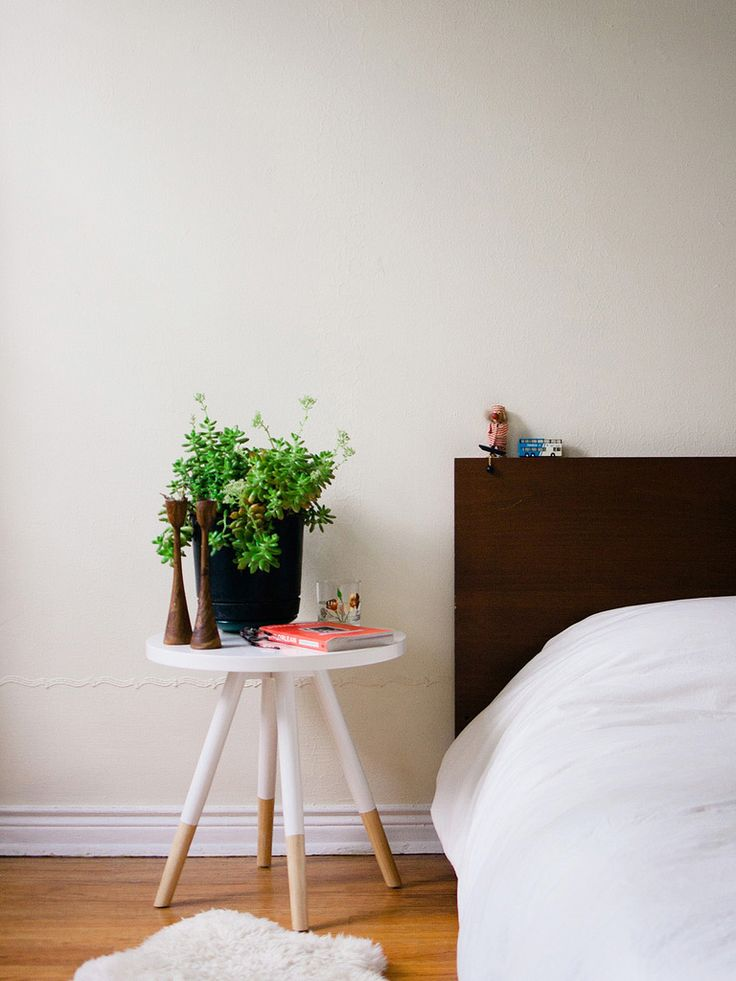 Dipped Side Table w/succulent in @David Nilsson Nilsson Nilsson Gil bedroom! this would be so pretty with pastel purple for Rissa's bedside table
