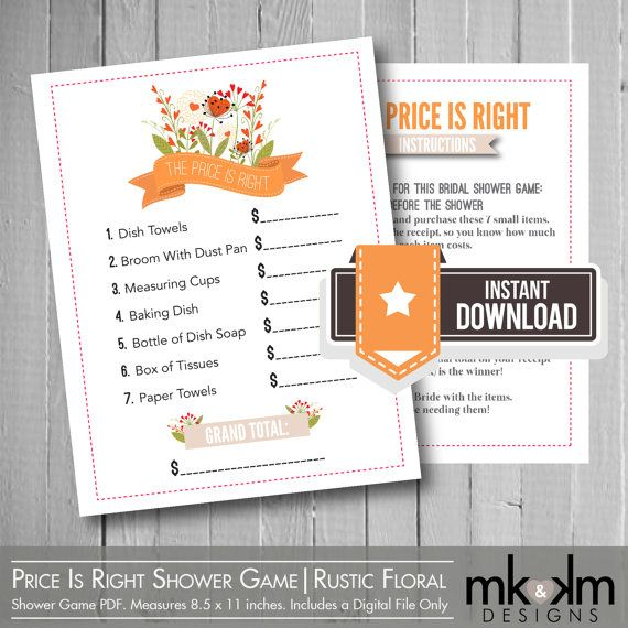 The Price Is Right Bridal Shower Game | Rustic Floral | Bridal Shower Ideas | Inspiration