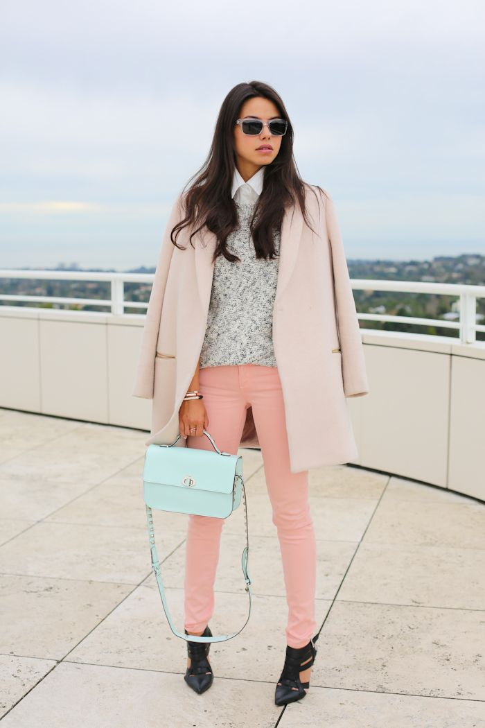 "Garbo heels via ShoeMint | Coat via McGinn Collection | Paige Denim skyline ankle peg jeans | Theory Fretta B pullover | Rebecca Minkoff Blake bag | Banana Republic sunglasses | Juicy Couture arrow bracelet in pink gold & pave arrow ring | Estee Lauder nail polish in ""Lilac Leather"" & ""Coral Cult"""