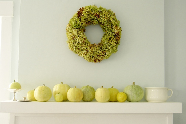 I am thinking all white pumpkins with some painted designs.....maybe textures with a glue gun and spray paint....