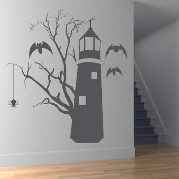 Haunted Lighthouse With Bats Wall Sticker Kids Monsters Wall Art Decal