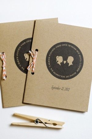 Silhouette and Chevron Stripe Wedding Invitations by Lilly and Louise