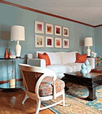 blue & orange living room | home owners | Pinterest