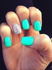 teal nails beauty