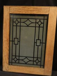 Antique Oak Cabinet Doors with Deco Design Etched Glass Panel