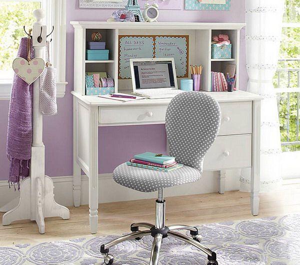 Girls Bedroom with White Study Desk  kids  Pinterest
