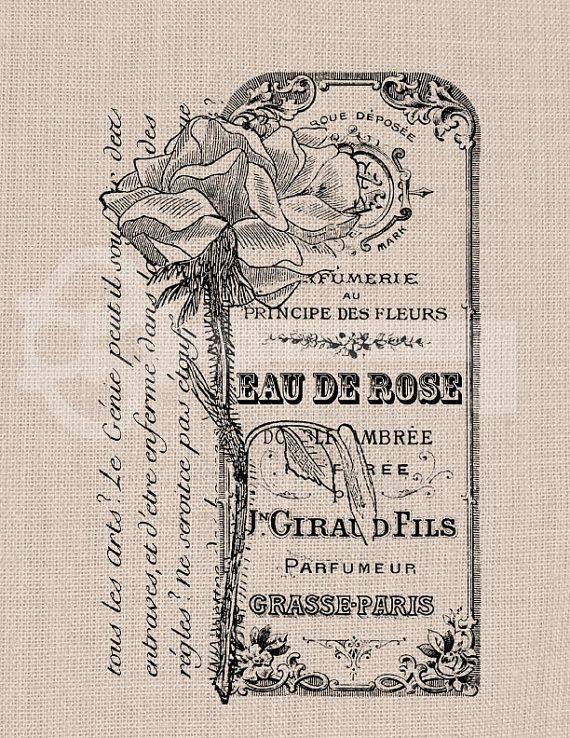 Vintage French Rose Perfume Label Ad Digital by TanglesGraphics, $1.00