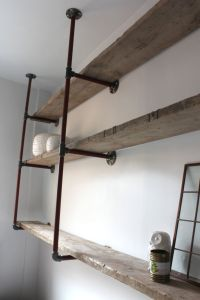 Reclaimed Scaffolding Boards and Steel Pipe Wall Mounted ...