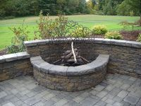 retaining wall fire pit | Outside | Pinterest