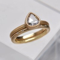 One of a kind - rose cut diamond engagement & wedding ring ...