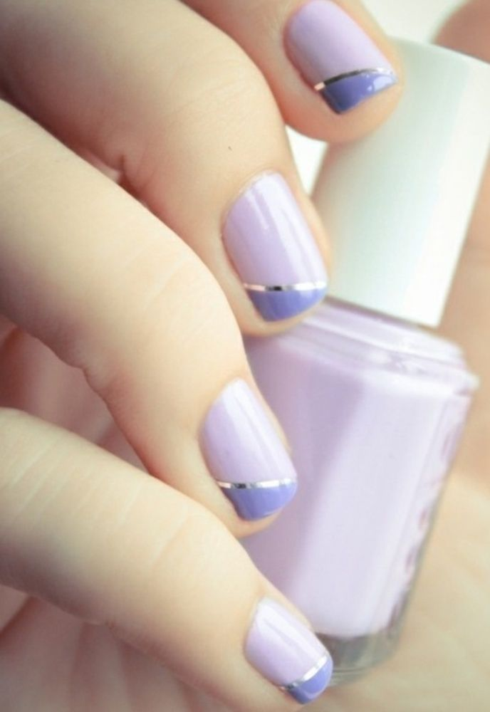 lilac and periwinkle nail art