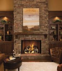 stone fireplace. wood mantel. built ins. | living room ...