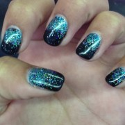 teal and black gel nails