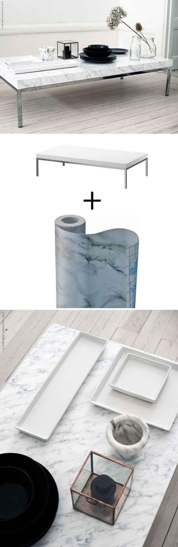Cover the Klubbo coffee table ($49.99) with marble contact paper.