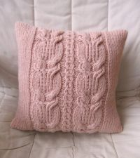 Chunky Pink Cable Knit Pillow / Cushion Cover