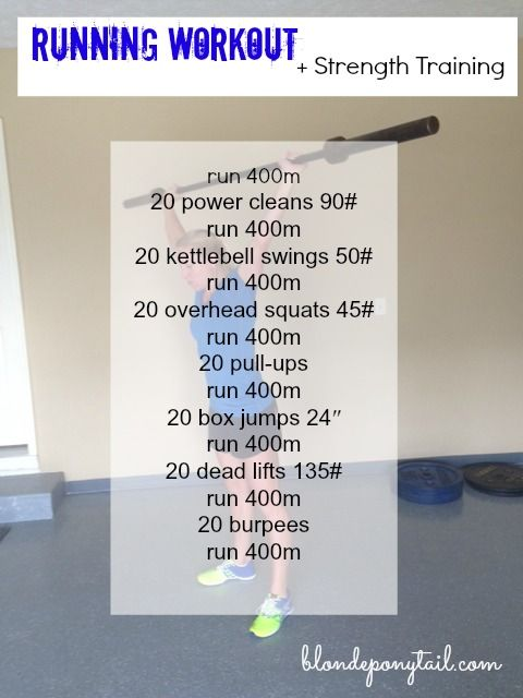 I want to share a few running workouts with weights that I have been doing lately.