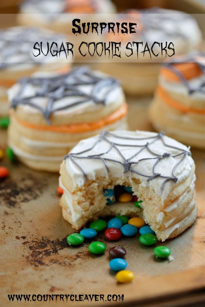 Surprise Sugar Cookie Stacks filled with a surprise of M&M's inside!! What kid isn't going to love these?!
