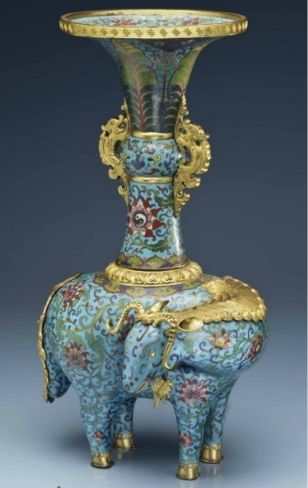A rare large cloisonné enamel ram and vase group, 18th century