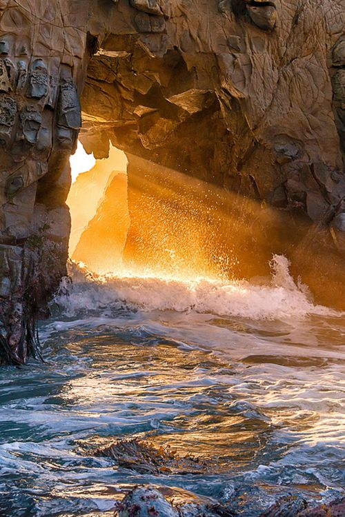 Pfeiffer Beach Arch - Big Sur, California (By Jim Feeler)  --  can't you just feel the water swirling all about you, ahhh