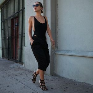 Karla wearing American Apparel bodysuit, Zara Bermudas, Rupert Sanderson heels. Love this casual look