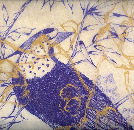 Mónica Fuster   Detalle de Among them  Obra editada e impresa en el 2008 por el CPS (Centro Portugués de Serigrafía, Lisboa) como resultado del Premio Estampa 2006.    Edición limitada de 16 trípticos de  150 x 70 cm. en aguafuerte y punta seca sobre papel japonés Mingeishi natural iluminado en oro.