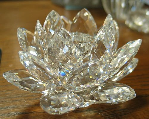 Swarovski lotus candle holder