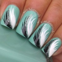 Cute feather Nail design | Nails | Pinterest