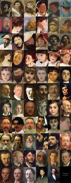 Unfinished portraits by Sargent, organized by levels of finish.