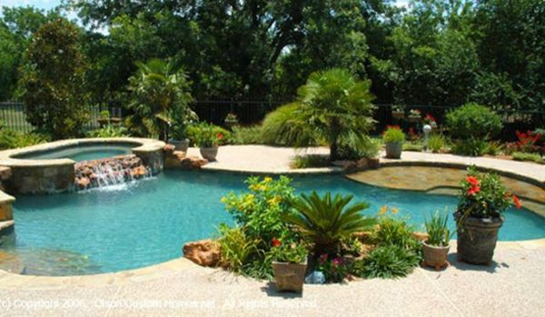 tropical landscaping pool