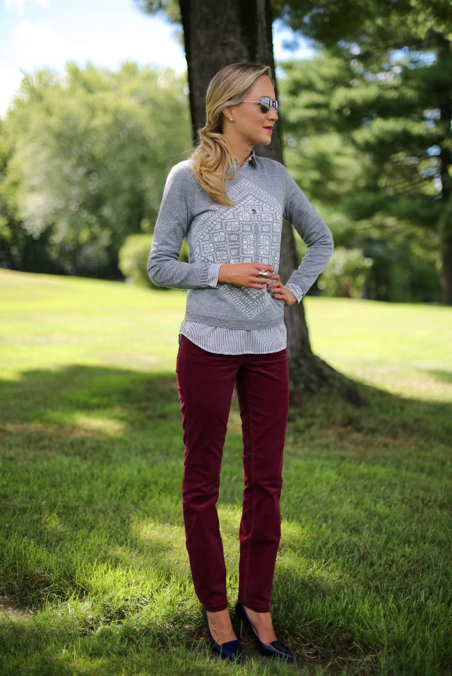 Burgundy corduroy skinny-leg pants with gray sweater over striped blouse, worn by The Classy Cubicle