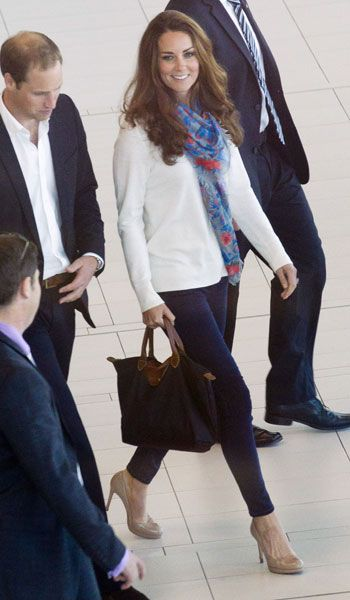 Kate Middleton's Airport Style: The Duchess Wears Project D London Dress Before Switching To Jeans And Temperley Scarf   Grazia Fashion