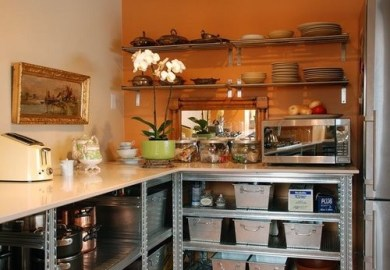 Orange Accent Wall Kitchen