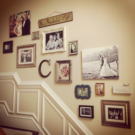 Love the combo of canvas/frames/phrases/fabric