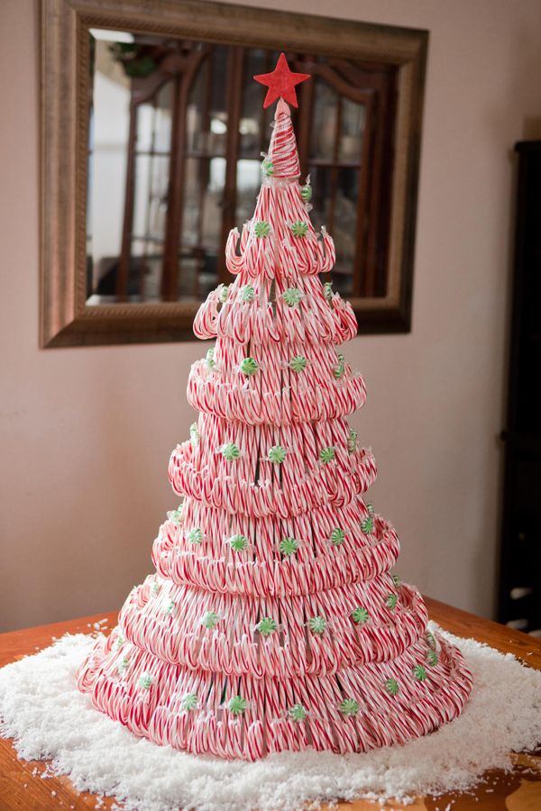 DIY Tutorial: candy cane tree centerpiece, excellent instructions as well as pictures, complete listing of all of all products used.
