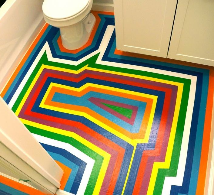 rainbow floor DIY vinyl tape  All the Colours  Pinterest