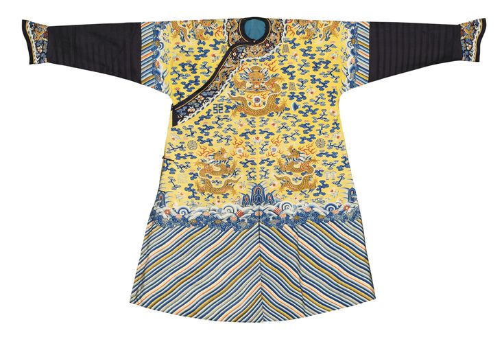 An Imperial yellow kesi twelve-symbol semi-formal dragon robe (jifu), Qing dynasty, Tongzhi  period