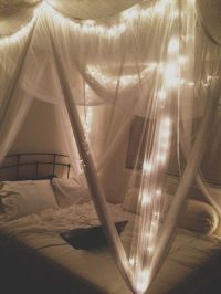 bed canopy with lights | diy | Pinterest
