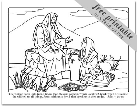 woman at the well coloring page # 10