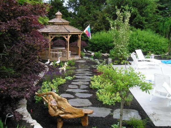 mulch and stone pathway gazebo