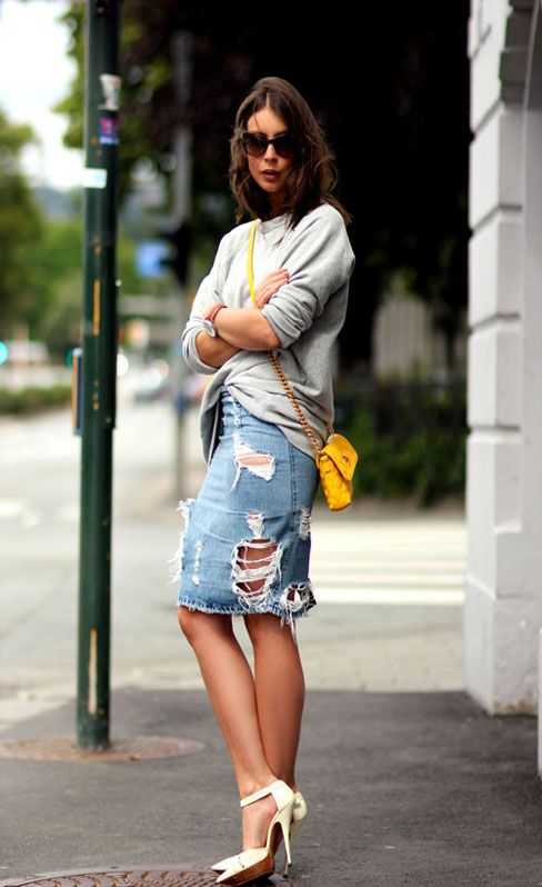 #Acne #distressed #denim skirt | Photo by Irina Lakicevic / A Portable Package