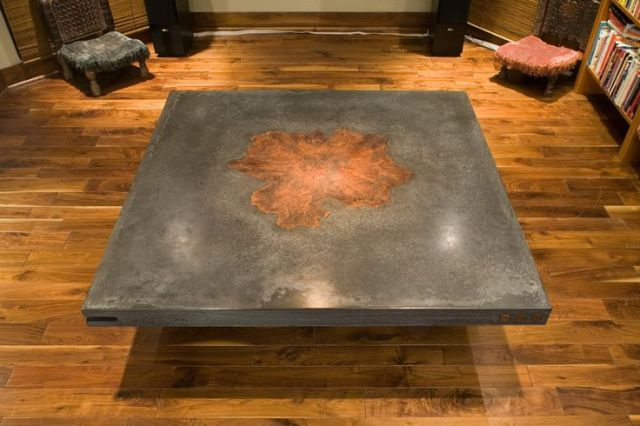 concrete table with walnut burl inlay - Custom Made Dining Tables