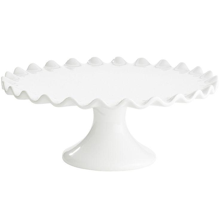 White Scalloped Cake Plate