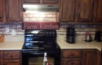 Painted Faux Brick Backsplash