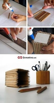 """Foto """"pinnata"""" dalla nostra lettrice Carla Covasce, blogger di Craft Patisserie Ikea Meta  Pencil holder made with ikea pencils."""