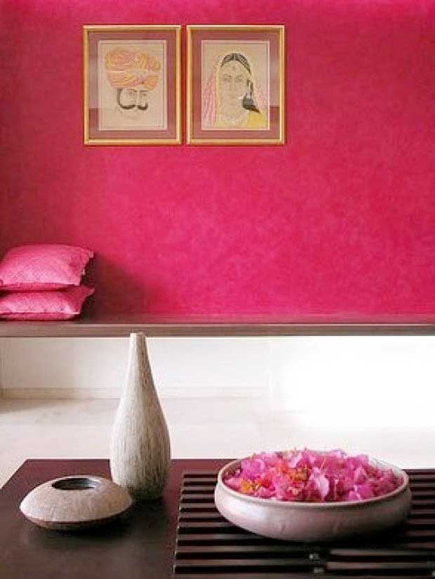 """OH SO PRETTY IN HOT PINK accent rich walls + art - """"10 Colorful India Inspired Interiors"""" - paintandpattern.com"""