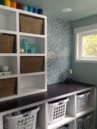 Laundry! Baskets and open shelves | Basement Laundry Rooms ...