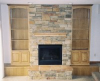 stone fireplace with wood built ins | Fireplaces | Pinterest