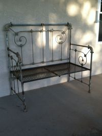metal bed frame garden bench | lowcountry cottage | Pinterest