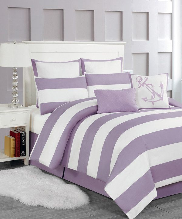 Purple Stripe Delia Anchor Comforter Set